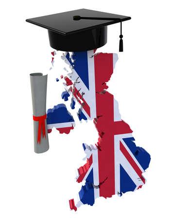 estudiar: Mapas de Inglaterra con casquillo y diploma, ilustración 3d Foto de archivo