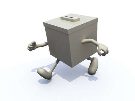 electoral: ballot box that runs away, concept abstention Stock Photo