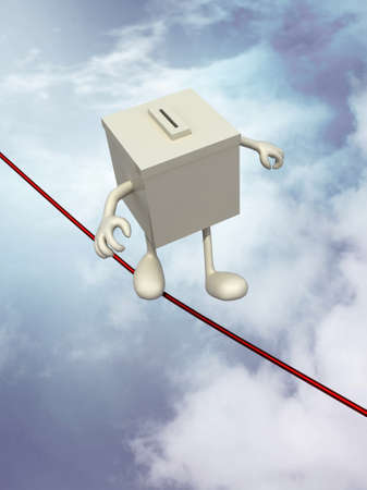 suffrage: ballot box poised on the wire, 3d illustration on sky background