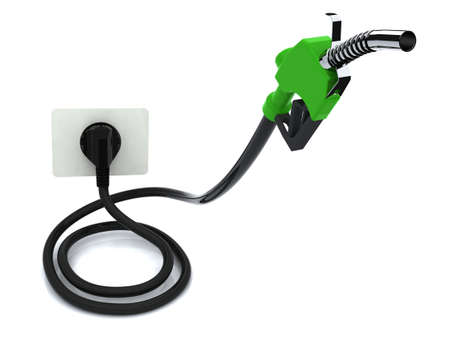 hybrid car: Fuel pump with electric cable and plug  Electric recharge automotive concept