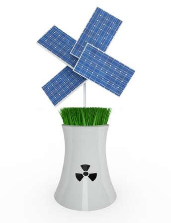 radiacion solar: cuatro paneles solares sobre la industria nuclear en el fondo blanco, ilustración 3d