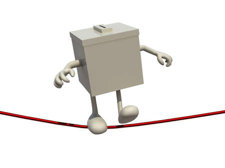 electioneering: ballot box poised on the wire, 3d illustration on white background