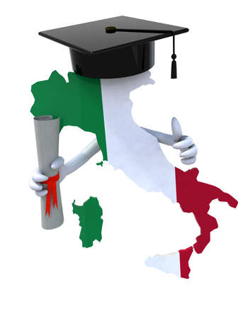 Italy maps with Graduation Cap and Diploma, 3d illustration illustration
