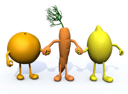 multivitamin: orange, carrot and lemon with arms and legs, multivitamin ace fruits concepts Stock Photo