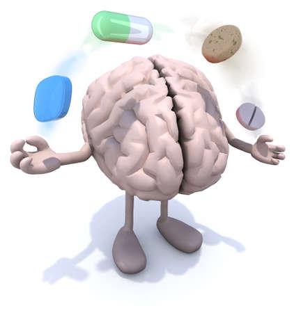 éxtasis: cerebro humano con los brazos y las piernas y grandes píldoras en el aire, ilustración 3d