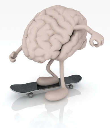 psyco: human brain with arms and legs on skateboard, 3d illustration