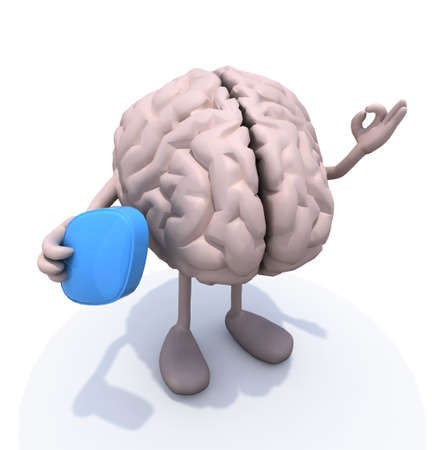 human brain with arms and legs and big blue pill on hand, 3d illustration illustration