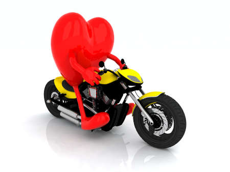 heart with arms and legs on the motorbike, 3d illustration illustration
