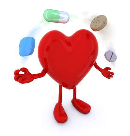 first love: heart with arms and legs and big pills in the air, 3d illustration