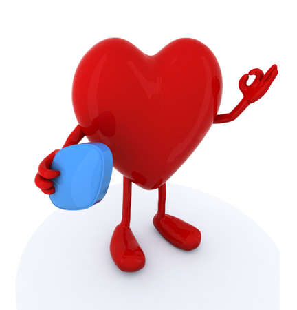 erectile: heart with arms and legs and big blue pill on hand, 3d illustration