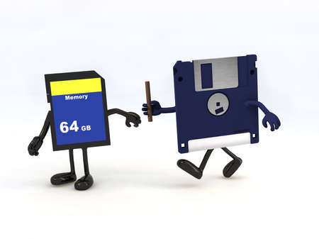 relay between floppy disk and memory stick, the concept of innovation tecnology photo