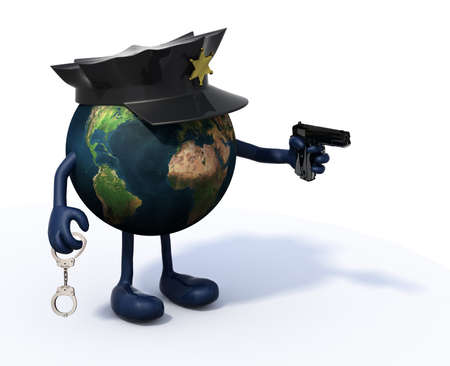 planet earth with arms and legs, police cop and gun on hand, security concepts photo