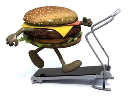 running fast: burger with arms and legs on a running machine, 3d illustration Stock Photo