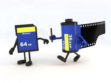 tecnology: relay between film photo roll and memory stick, the concept of innovation tecnology