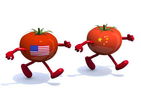 asian produce: Chinese and American tomato with arms, legs, that run, 3d illustration