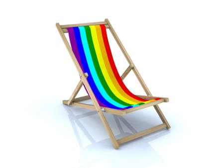 peace flag: beach chair with peace flag, 3d illustration