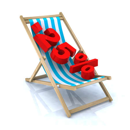 beach chair with -25  number, 3d illustration illustration