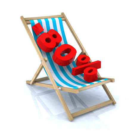 fewer: beach chair with -80  number, 3d illustration Stock Photo