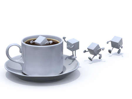 diving save: sugar cubes cartoon that plunge into the cup of coffee, 3d illustration Stock Photo