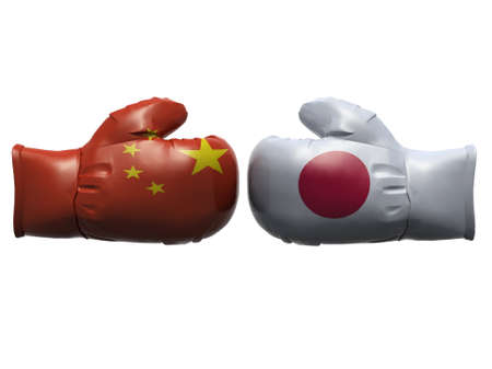 Boxing gloves with China and Japan flag, 3d illustration illustration