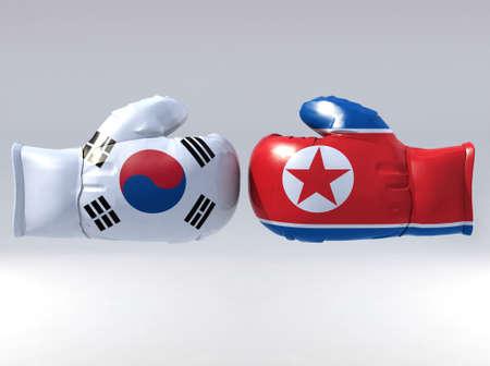 Boxing gloves with Korean flag, 3d illustration Stock Illustration - 22031778