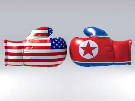 Boxing gloves with Usa and North korea flag, 3d illustration illustration