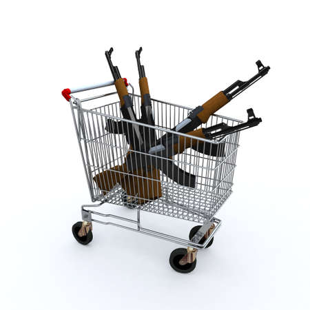 gun: The shopping cart loaded with the kalashnicov for purchase, weapons market concepts Stock Photo