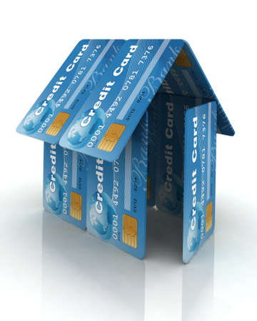 house of blue credit cards, 3d illustration illustration