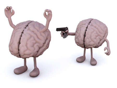 legs up: two brains with arms and legs, one has a gun and points it at the other who has his hands up Stock Photo
