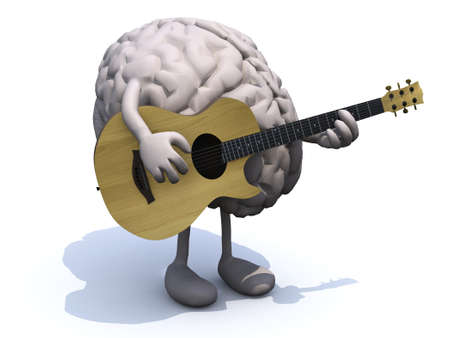 human brain with arms and legs playing a guitar, learning music concepts. Archivio Fotografico