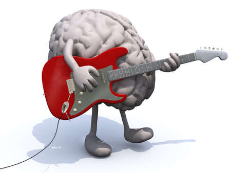human brain with arms and legs playing a guitar, learning music concepts. photo