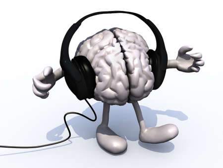 listen music: pair of headphones on a big brain with arms and legs, 3d illustration Stock Photo