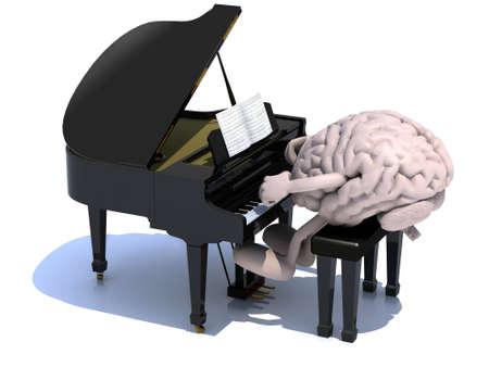 human brain with arms and legs playing a piano, 3d illustration. Standard-Bild