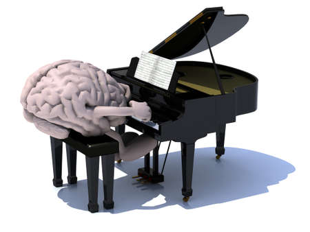 memories: human brain with arms and legs playing a piano, 3d illustration. Stock Photo
