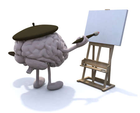 human brain with arms and legs, painter with brush and easel Stock Photo - 22031793