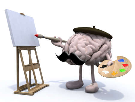 human brain with arms, legs, moustache, painter with brush and easel Stock Photo - 22031799