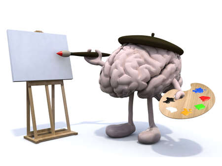 human brain with arms and legs, painter with brush and easel Stock Photo - 22031776