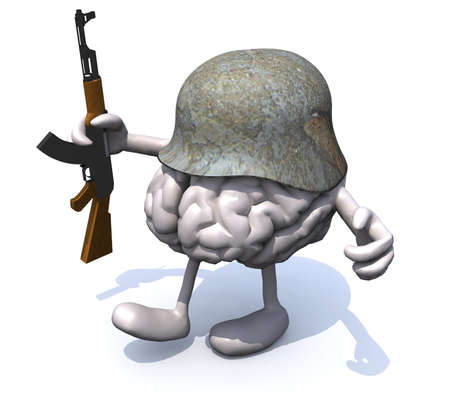 cranial: human brain with arms and legs, german helmet and rifle, 3d illustration