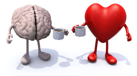 heart disease: human brain and heart with arms and legs and cup of coffee, 3d illustration