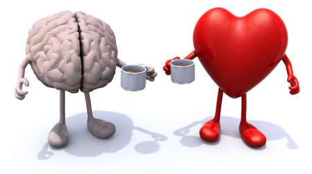 menselijke hersenen en hart met armen en benen en een kopje koffie, 3d illustratie Stockfoto