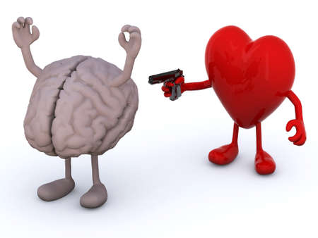 human brain and heart with arms and legs, heart has a gun and points it at the brain who has his hands up