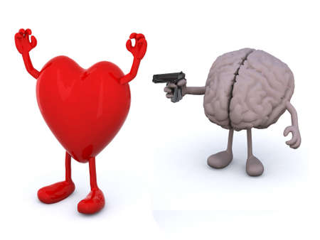 heart and human brain with arms and legs, brain has a gun and points it at the heart who has his hands up photo
