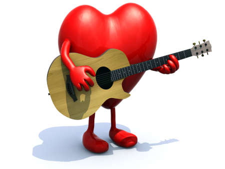 serenade: heart with arms and legs playing a guitar, love serenade concept.