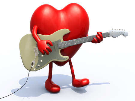 heart with arms and legs playing electric guitar, 3d illustration Stock Photo