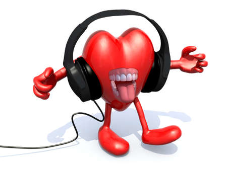 dj headphones: pair of headphones on a big heart with arms, legs and open mouth