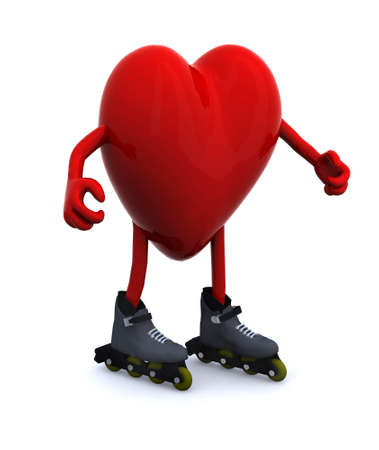 heart with arms, legs and rollerskates, 3d illustration Stock Illustration - 22031831
