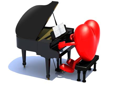 heart with arms and legs playing a piano, love serenade concept. photo
