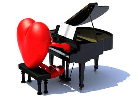 serenata: coraz�n con los brazos y las piernas tocando un piano, el concepto de amor serenata.