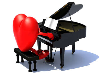 serenade: heart with arms and legs playing a piano, love serenade concept.