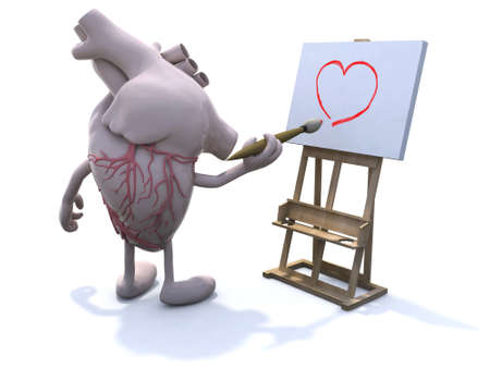 human heart with arms and legs painter, with brush and easel, painting a heart photo